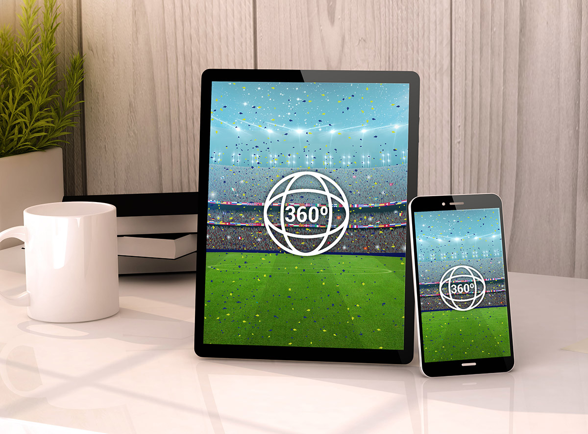 A 360 degree view of a sportig event on tablet and smartphone. All graphics are made up.