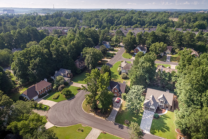 Aerial Picture of typical suburban houses in southern United States